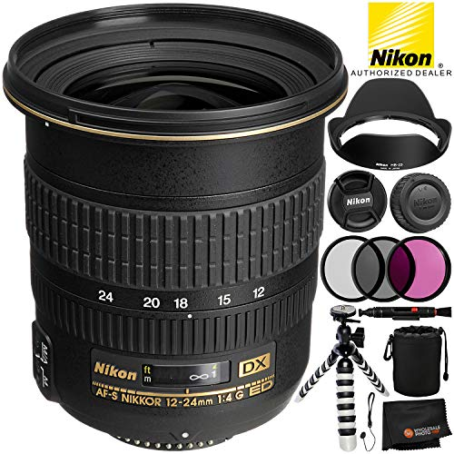 Nikon AF-S DX Zoom-NIKKOR 12-24mm f/4G IF-ED Lens – 5PC Accessory Bundle Includes High Speed SD/SDHC/Micro SD/Card Reader + 8″ Flexible Gripster Tripod + Padded Wrist/Hand Strap + Lens Cap Keeper + MO