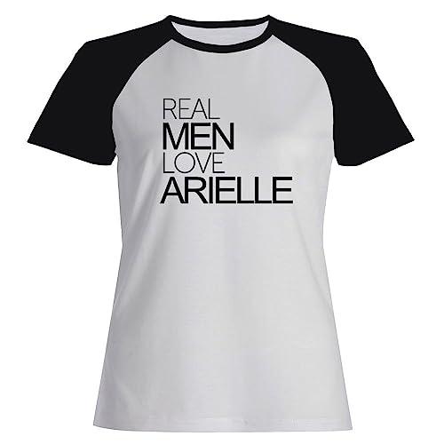 Idakoos Real men love Arielle - Nomi Femminili - Maglietta Raglan Donna