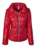 Sportoli Lightweight Women's Midlength Down Fashion Multi-Directional Quilted Winter Puffer Jacket Red (Size Large)