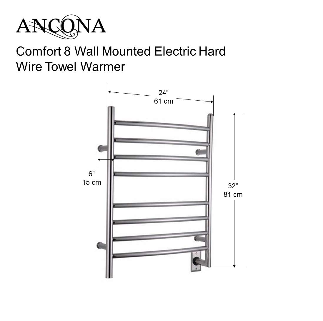 ancona comfort hard wired 8 dry-lined electric towel warmer with 8 bars and  chrome finish: amazon ca: tools & home improvement