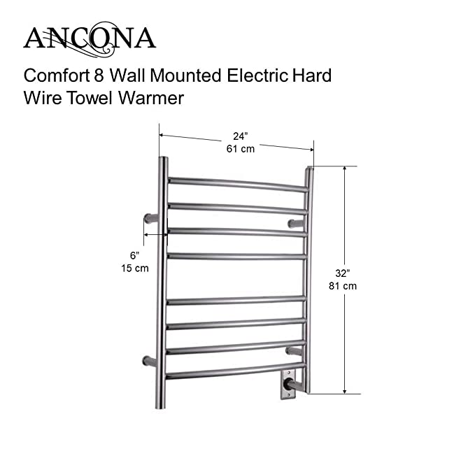 ancona comfort hard wired 8 dry lined electric towel warmer with 8ancona comfort hard wired 8 dry lined electric towel warmer with 8 bars and chrome finish amazon ca tools \u0026 home improvement