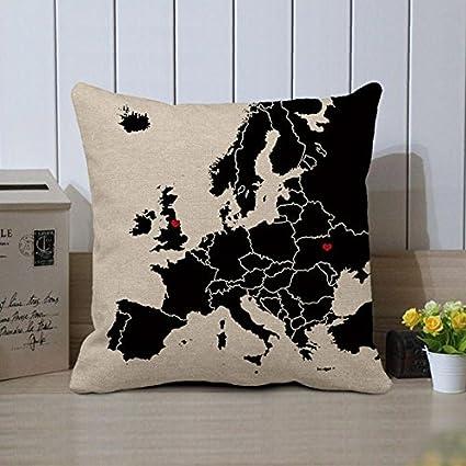 Amazon Com Pillow Cover World Map Custom Map Pillow Case Long
