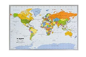 World map pinboard silver wood framed spanish amazon world map pinboard silver wood framed spanish gumiabroncs Gallery