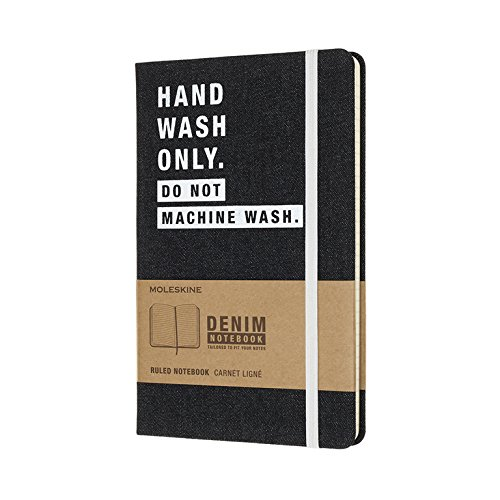 Moleskine Limited Collection Denim Notebook, Large, Ruled, Dark Blue, Hand Wash, Hard Cover (5 x 8.25) - Ltd Denim