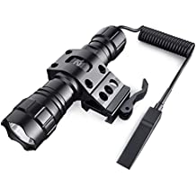 CISNO Quick Release 45° Offset Mount 1000 Lumens L2 LED Tactical Flashlight Torch With Remote Pressure Switch, Matte Black