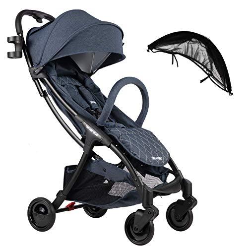 Compact Stroller 2020 Ultra Lightweight Baby Stroller + Universal Mosquito Net Blue Jeans & Black