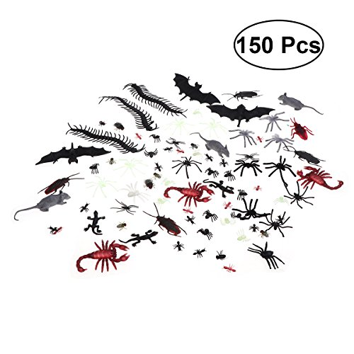 LUOEM 150pcs Plastic Bugs Realistic Fake Spiders Scorpion Flies Bat Spooky Pest Toy Creepy Prank Toy for Halloween Party April Fool's Day Decor]()