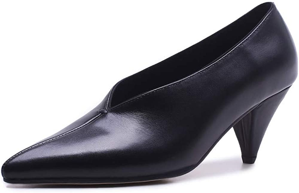 ZHEYUG Black Apricot Brown Genuine Leather Shoes Shallow Simple Pumps Women Shoes Solid Colors High Heels Shoes