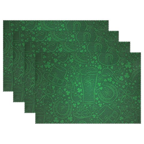 ALAZA Abstract Green Shamrock St. Patrick's Day Placemats Heat-resistant Washable Table Mats 12 X 18 Inch Placemats for Family Kitchen Hotel Coffee Shop Dinning Restaurant Set of 4 Patricks Day Table