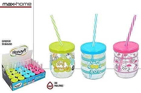 Lote De 24 Vasos De Cristal Decorados 300 Ml Con Tapa Y
