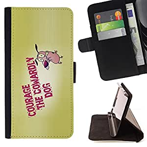 BullDog Case - FOR/LG G2 D800 / - / courage dog bravery cartoon quote motivation /- Monedero de cuero de la PU Llevar cubierta de la caja con el ID Credit Card Slots Flip funda de cuer