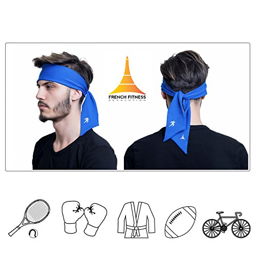 KO Head Tie Headband / Sports Sweatband for Tennis, Basketball, Workout or Running, Head Bands for Men and Women by French Fitness Revolution