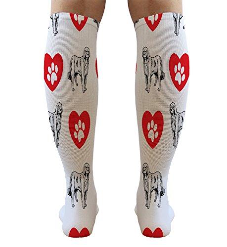 Funny Knee High Socks Akbash Dog Heart Paws Tube Socks Women & Men 1 Size 6