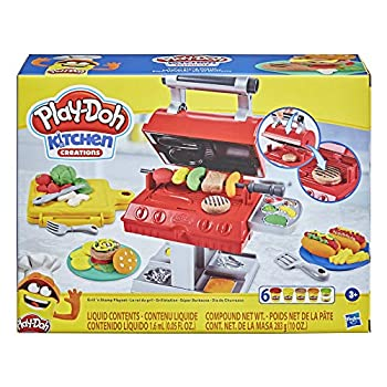 Play-Doh Kitchen Creations Grill 'n Stamp Playset for Youngsters 3 Years and Up with 6 Non-Poisonous Modeling Compound Colours and seven Barbecue Toy Equipment