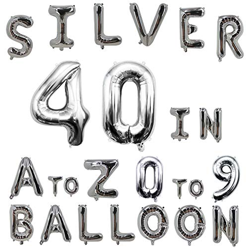 40inch Silver Letter Balloons Alphabet Balloons Helium Birthday Balloons Foil Mylar for Party Engagement Wedding Anniversary Graduation Bridal Shower Bachelorette of 2019 BALLOON (0 Balloon)