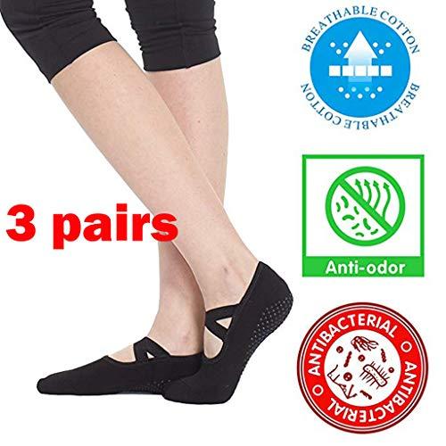 Haluoo Yoga Socks for Women Non Skid Slip Resistant Grips Ballet Barre Dance Pilates Socks Barefoot Workout Dance Sport Yoga Socks (3 Pairs)