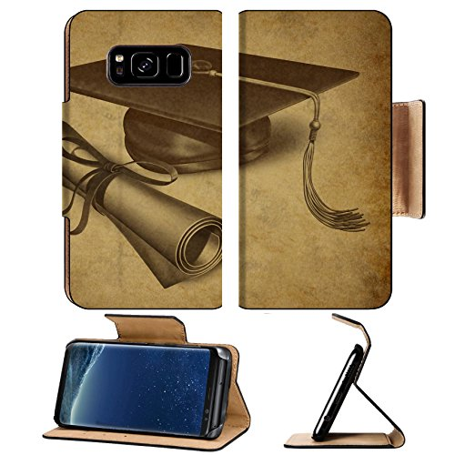 Liili Premium Samsung Galaxy S8 Plus Flip Pu Leather Wallet Case Graduation hat and diploma with vintage grunge texture representing education Photo 10743744 Simple Snap Carrying