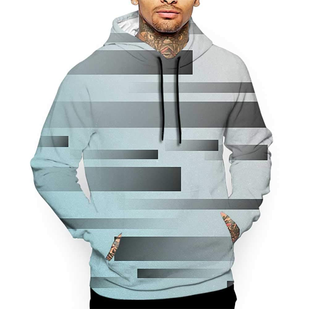 Unisex 3D Novelty Hoodies Striped,Abstract Symbolist Lines Featured in Modern Multi-Faceted Lines Sci Fi Artwork,Sky Blue Grey Sweatshirts for Women Plus Size