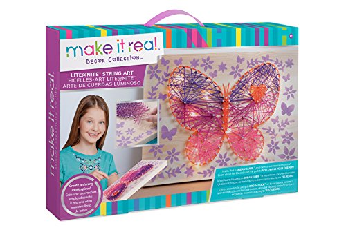 Make It Real - Lite@Nite String Art. LED Light and String Wall Art Kit for Kids Includes Wood Canvas, LED Lights, Paint, Pins and String, and Stencil