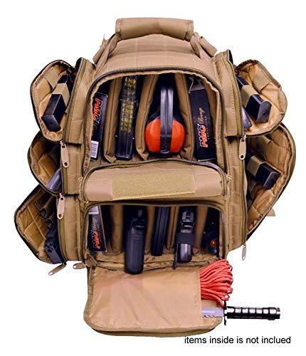 EXPLORER Backpack + Range Bag with Large Padded Deluxe Tactical Divider and 9 Clip Mag Holder - Rangemaster Gear Bag (Brown Tan Range Bag) ()