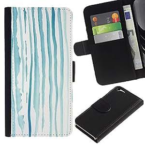 LASTONE PHONE CASE / Lujo Billetera de Cuero Caso del tirón Titular de la tarjeta Flip Carcasa Funda para Apple Iphone 6 4.7 / Blue Lines Kids Drawing