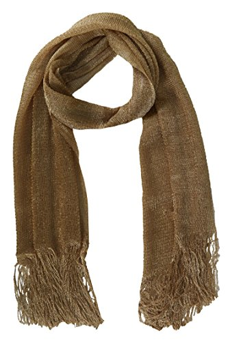 Peach Couture Women Metallic Shimmer Sheer Mesh Glitter And Sparkle Fringe Scarf (Scarf Bronze)