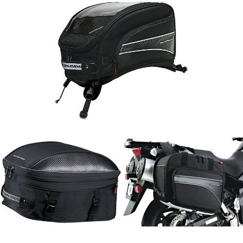 Nelson-Rigg CL-2016-ST Black X-Large Strap Mount Journey Tank Bag, CL-1060-ST Black Sport Touring Tail/Seat Pack, and (CL-855) Black Touring Adventure Saddlebag Bundle