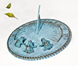 Decorative Brass Sundial 10'' inches wide - with 3 Little Frogs