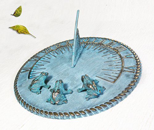 Decorative Brass Sundial 10'' inches wide - with 3 Little Frogs by Taiwan