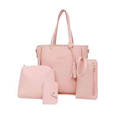 1989Candy 4pcs/set Litchi Leather Tassel Women'Hangbag And Tote Shoulder Handbag Clutch Card Bags