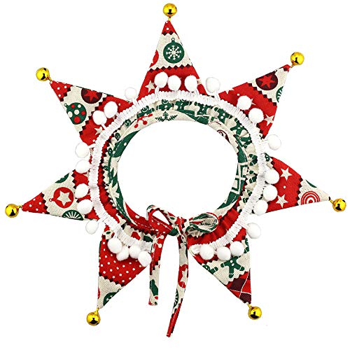 Wiz BBQT Adjustable Pet Decorative Christmas Balls Jingle Bells Star Collar for Cats Dogs Party Holiday Accessory (M)