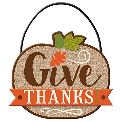 Amscan Give Thanks Hanging Thanksgiving Decorative Sign -