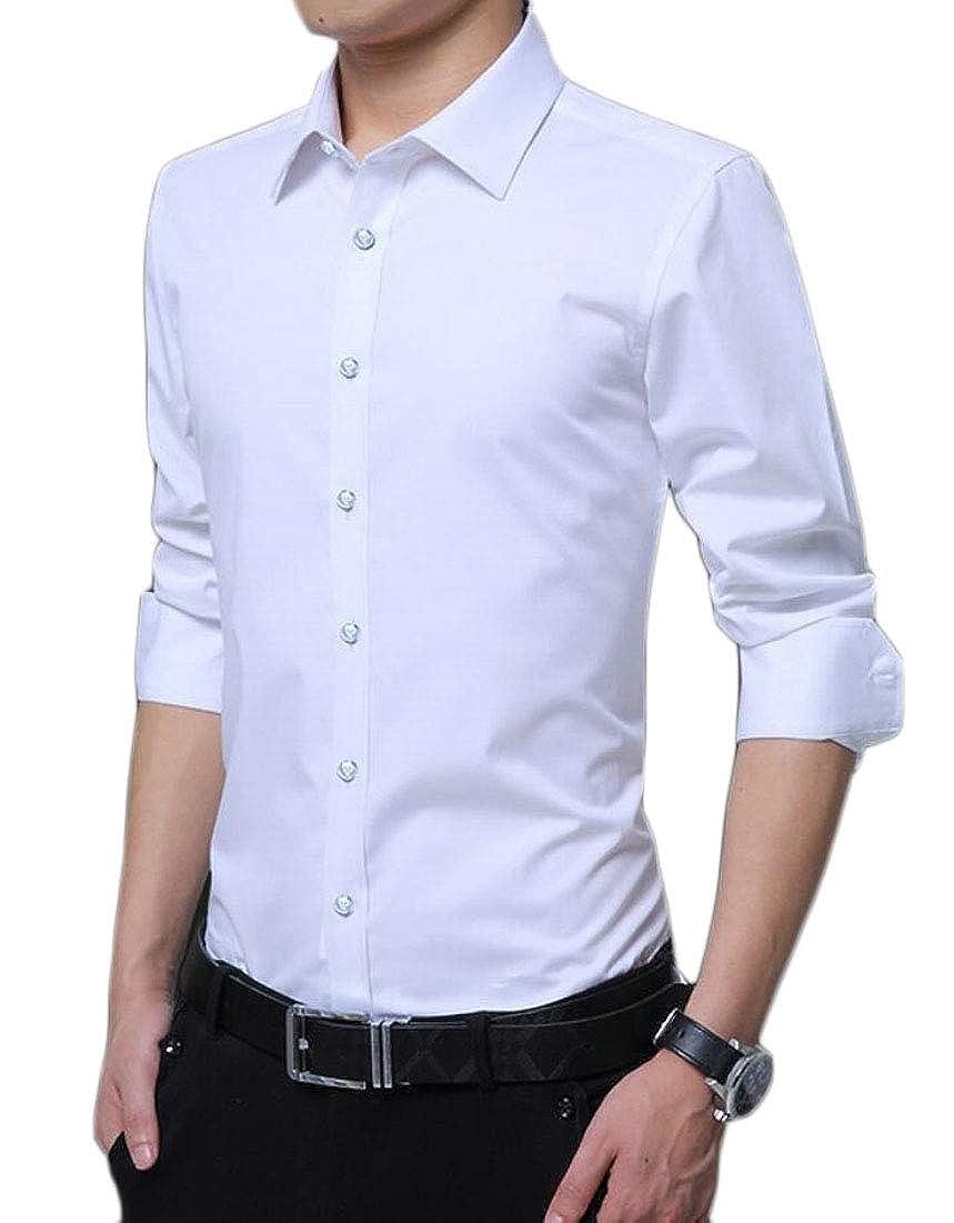 Qiangjinjiu Men Solid Dress Shirt Casual Slim Fit Long Sleeve Button-Down Shirt