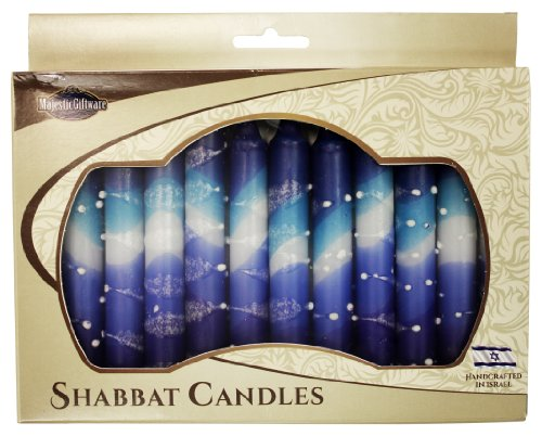 Majestic Crystal Candle - Majestic Giftware SC-SHSN-B Safed Shabbat Candle, 5-Inch, Snow Blue, 12-Pack
