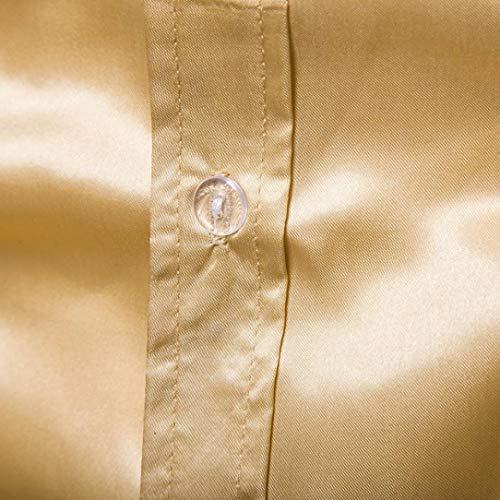 Sera Bhydry Praty Di Collare Superiore Solida Gialla Uomini Del Lunga Manica Autunno Casual Modo Camicetta Camicie Basamento Ppcc7dgq8