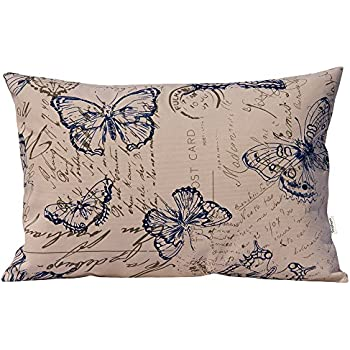 TangDepot 100% Cotton Nature Theme Throw Pillow Covers, Cushion Covers, 10 Sizes Option, Rectangle Pillow Shells, Decorative Cushion Cover Pillowcase - (12