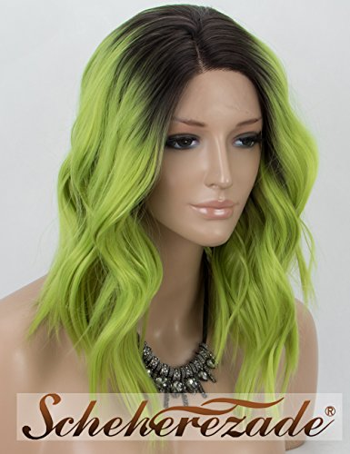 Scheherezade Short Bob Green Lace Front Wig Wavy Half Hand Tied Glueless Synthetic Green Wig Water Wave Heat Resistant Black Green Ombre Wig with Dark Roots -
