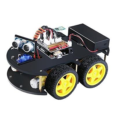 Elegoo EL-KIT-012 UNO Project Smart Robot Car Kit V 3.0 with UNO R3, Line Tracking Module, Ultrasonic Sensor, Bluetooth Module by Elegoo