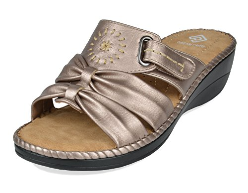 DREAM PAIRS Women's Truesoft_08 Gold Low Platform Wedges Slides Sandals Size 6 B(M) US