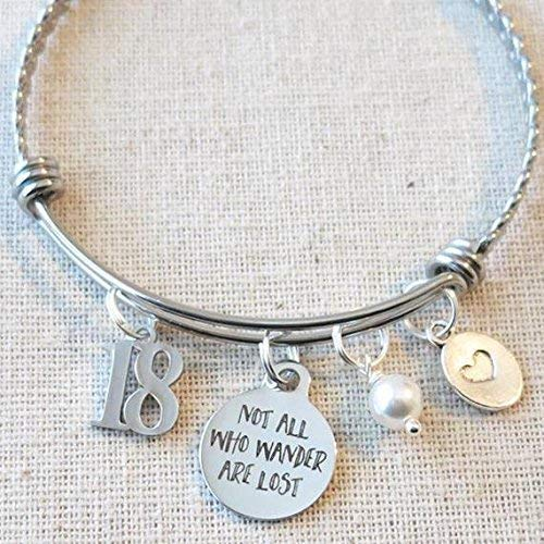 18th BIRTHDAY Gift For Girls Not All Who Wander Are Lost Inspirational Personalized Birthday Charm Bangle Bracelet Eighteenth