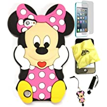 Bukit Cell 3D Case Bundle - 5 items: PINK 3D Cute Minnie Mouse Silicone Case for iPod Touch 6th/ 5th + BUKIT CELL Cloth + Minnie Stylus Touch Pen + Screen Protector + METALLIC Stylus Touch Pen