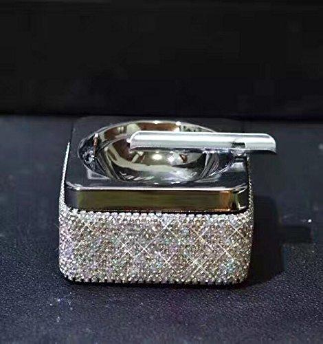 TISHAA Bling Bling Dazzling Crystal Diamonds Handmade Fancy Metal Ashtray for Office, Restaurant, Home or Patio (White Ashtray) (Diamond Cigarette)