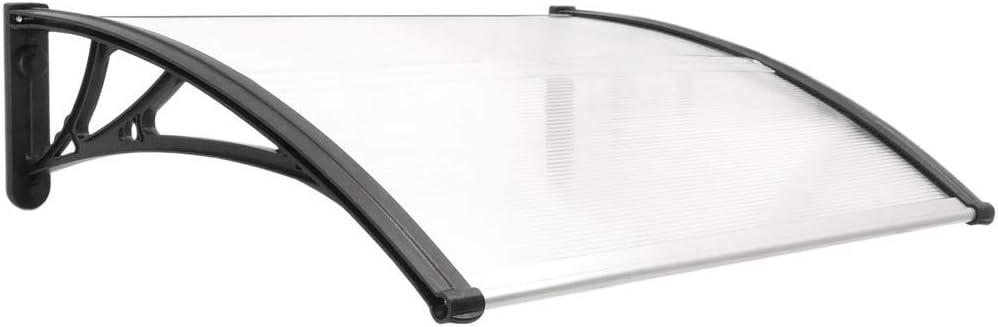 PrimeMatik - Tejadillo de protección 80x60cm Marquesina para Puertas y Ventanas Negro