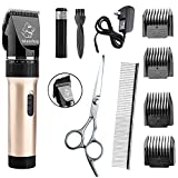 Maxshop Dog Clippers,Rechargeable Cordless Electric Pet Cat Grooming Trimming Clippers Kit (Gold)