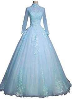 20117da23e EieenDor Lace Long Sleeves Quinceanera Dresse Ball Gowns High Neck Backless Prom  Dresses