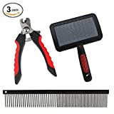 Professional Dog Grooming Tools Kit from Paw Brothers - Dog Nail Clippers, Slicker Brush, and Greyhound Metal Comb Pet Grooming Tools - 100% Guaranteed