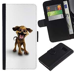 Be Good Phone Accessory // Caso del tirón Billetera de Cuero Titular de la tarjeta Carcasa Funda de Protección para Samsung Galaxy S6 SM-G920 // Funny Happy Puppy Dog