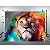 7x5Ft Lion Backdrop, Melancholy lion beautiful Photography Background, King of Wildlife Animal Backdrop for Pictures YouTube Backdrop GYVV027