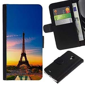 NEECELL GIFT forCITY // Billetera de cuero Caso Cubierta de protección Carcasa / Leather Wallet Case for Samsung Galaxy S4 Mini i9190 // Torre Eiffel de Francia