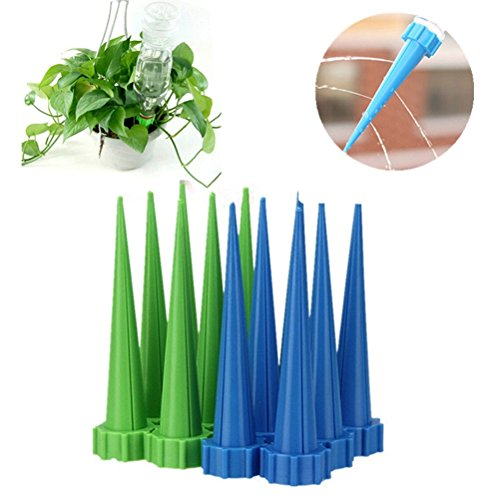 Eshylala 20 Pack Garden Cone Watering Spikes Drip Controller Flower Plant Self Plant Waterer, WARN - Suit for Bottle Mouth Diameter, 2.7cm/1.06inch.